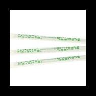 Lebomló szívószál, PLA-ból, csomagolt, 7 mm, zöld csíkos, 4800 db | 14 Ft/db, 4800db