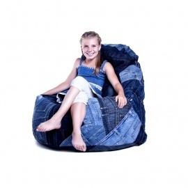 Old Blue Babzsák fotel nikecell töltettel, újrahasznosított farmerből