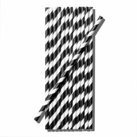 Papír szívószál, 6x200 mm, fekete-fehér , 1000db