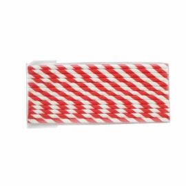 Papír szívószál, 6x200 mm, piros , 1000db