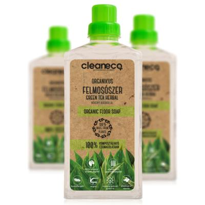 Cleaneco Háztartási Organikus Felmosószer növényi alkohollal - Green Tea Herbal illattal 1L - komposztálható csomagolásban
