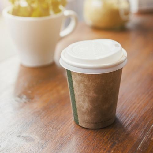 Kávés pohár, 1,8 dl, barna, lebomló , 1000db
