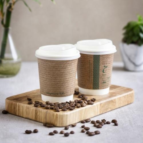 Kávés pohár, 2,3 dl, dupla falú, lebomló, barna , 500db