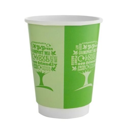 Kávés pohár, 3,4 dl, dupla falú, lebomló, Green Tree , 500db