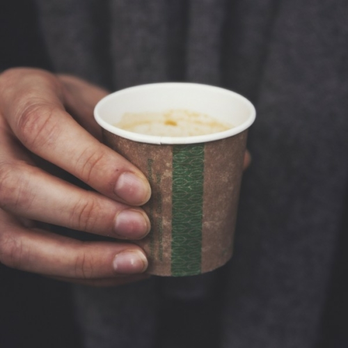 Kávés pohár, barna, 1,1 dl, lebomló, presszókávés , 1000db