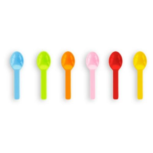 Lebomló fagyis kanál, PLA fagylaltos kanál, 7,6 cm, Tutti Frutti , 1000db