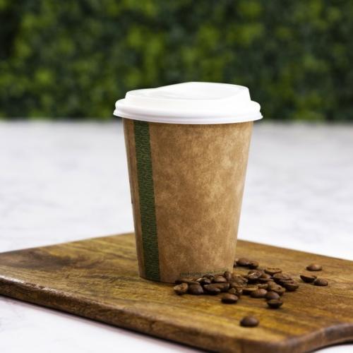 Teás pohár, 3,4 dl, lebomló, barna , 1000db