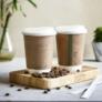 Kép 1/2 - Teás pohár, 3,4 dl, dupla falú, lebomló, barna , 500db